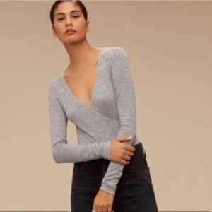 Wilfred Free grey wrap top